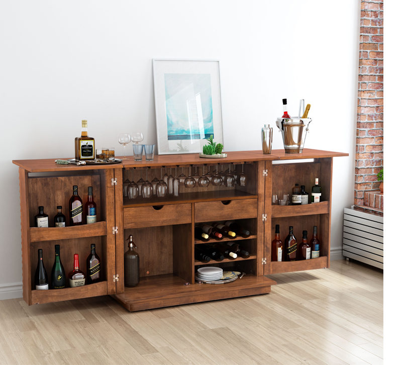 Brown LInea bar cabinet  with two opening doors and two drawers within from Zuo Modern