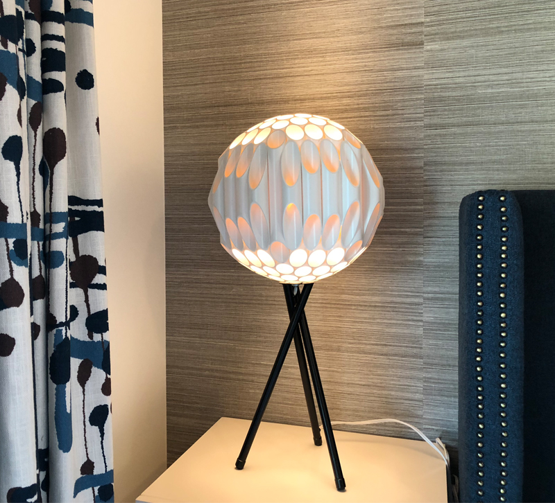 Ball table lamp on bedside table
