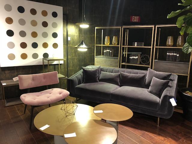 gray velvet sofa and pink velvet chair