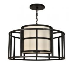 Hulton Pendant  with a round, open, metal cage surrounding a shaded light source from Crystorama