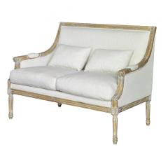 Ashley Settee with a high back and white fabric from Forty West