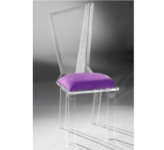 Hollywood Dining Chair with an acrylic fame and purple seat from Muniz