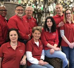 "The staff at Northern Lighting in Westerville, OH, gets the job done, but they like to have a little fun. ""We keep it loose,"" lighting consultant Scott Metz (third from right) says."