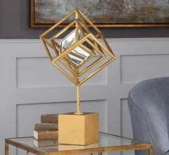 Venya sculpture with mirrored cube center from Uttermost