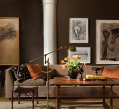 A New York loft with deep browns and leathers designed by Glenn Gissler