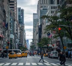 Pedestrians walking in city street