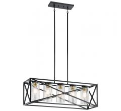 Moorgate five-light linear chandelier with a Matte black finish from Kichler Lighting