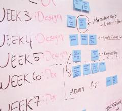 Whiteboard with tasks organized by weeks written on it