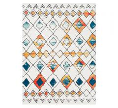 Moroccan Shag Area Rug with a geometric print on a white background with oranges, blues and reds from Surya