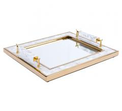 Horn Handle Tray with a mirrored base, mother of pearl frame and horn handle from Zuo Mod