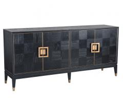 Truman black sideboard with four doors in black with brass hardware from Classic Home