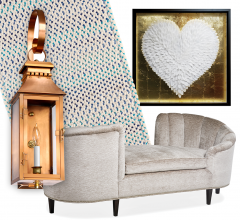 Idea Board collage featuring light, sofa, wall art and rug