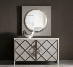 Ensemble credenza in white with a diamond pattern on the front from CARSON by Marge Carson