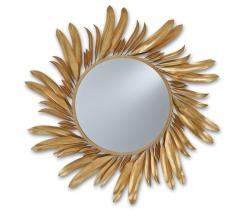 Folium round mirror with leaves around the perimeter from Currey & Company