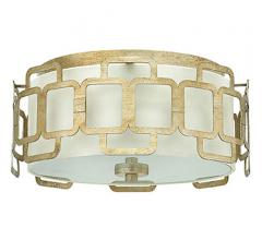 Sabina Flush Mount with sqaure halo design in Silver LEaf around a drum from Hinkley Lighting