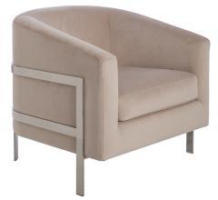 Vernon Club Chair in a Sierra Pearl velvet fabric from Safavieh