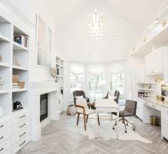 home office white cabinets