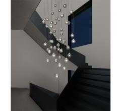 Champagne Bubbles ceiling fixture with descending bubbles from Sonneman — A Way of Light