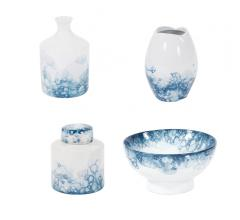 Blue and White Porcelain jug, vase, jar and bowl with abstract circle pattern from Howard Elliott