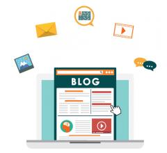 Cartoon image of a laptop with a blog pulled up