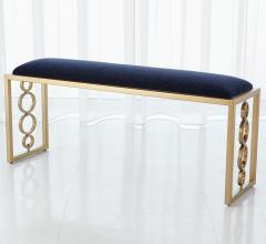 Progressive Ring Bench with gold legs and a navy blue upholstery from Global Views