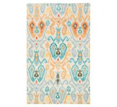 Liberty Area Rug with a patterned design in orange, blue, yellow, gray and a beige background from Jaipur Living