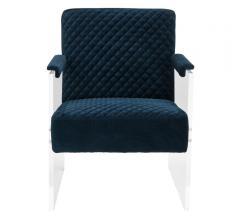 Malena Acrylic Armchair in diamond-printed blue velvet from Safavieh