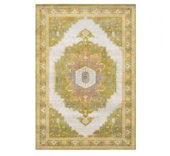 Aura Silk Area Rug with a center medallion and border in light greens and some blues and yellows from Surya