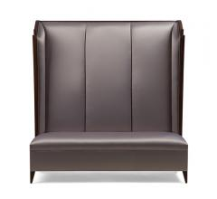 Pullman Express banquette with a tall back and a silver/purple fabric from Christopher Guy