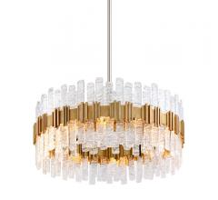 Ciro round Pendant with a glass shade and a Silver Leaf-finished band from Corbett Lighting