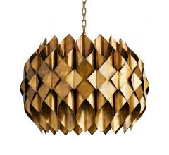 Roissy Pendant with gold-finished cylinders surrounding the light source from Arteriors Home