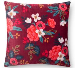 Loloi and Rifle Paper Co. maroon flowered pillow
