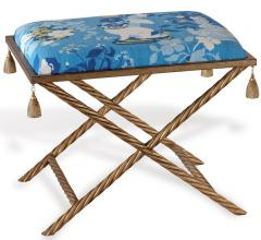 Madcap Cottage Port 68 blue bench with gold tassels