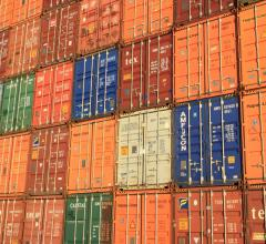 Wall of shipping containers