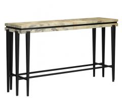 Karlson Console with a black frame and a beige wood top from Currey & Company