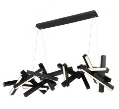 Chaos LED chandelier in black with integrated LED lights in each bar hanging from a single strip from Modern Forms