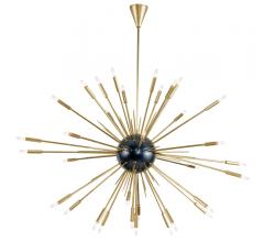 Nebula sputnik-style Chandelier in brass with a black center from Regina Andrew Design