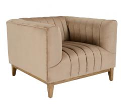 Betty accent chair in a beige fabric and light wood legs and base from Classic Home