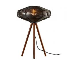 Kingston Table Lamp with black rattan and tripod-style legs from Adesso Home