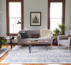 Living room with blue and white Boundless rug on the floor