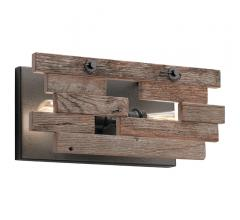 Cuyahoga Mill Wall Sconce with a reclaimed wood frame, two light bulbs and a bronze backplate from Kichler Lighting