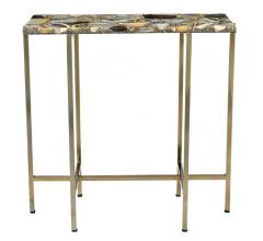 Agate Accent Table with brass legs and an inlaid agate table top from Moe's Home Collection