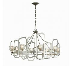 Gatsby circular chandelier with open polygons framing each light from Synchronicity by Hubbardton Forge