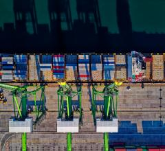Aerial shot of cargo ship in a harbor