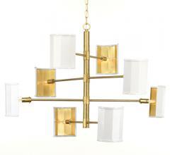 Wandermere eight-light, mobile-styled chandelier in Brushed Brass from Progress Lighting