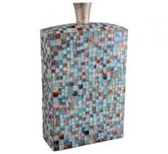 blue, brown and beige Azul Mosaic tall vase from Moe's Home Collection