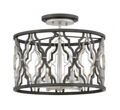 Portico cage Semi-Flush Mount in black and silver with triangle designs on the drum from Hinkley Lighting