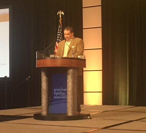 ALA Conference Chair, Quoizel's Rick Seidman, addressing the crowd.