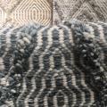 blue cream chunky rug