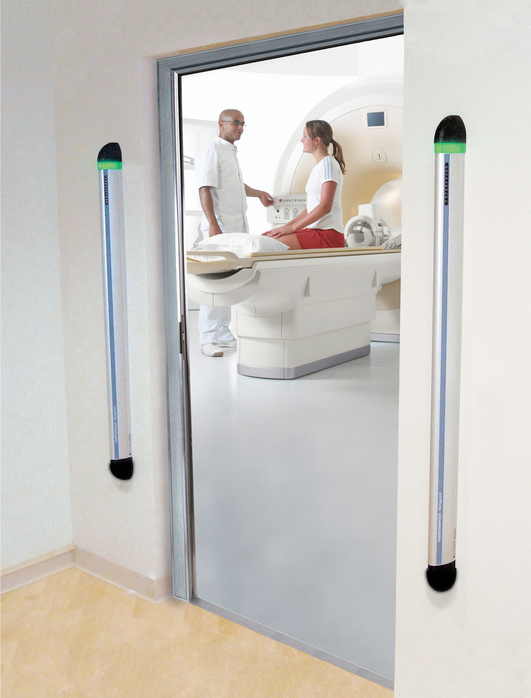 Ferromagnetic detection systems are placed outside the door of an MRI room to detect ferrous risk items approaching the room, enhancing MRI safety.